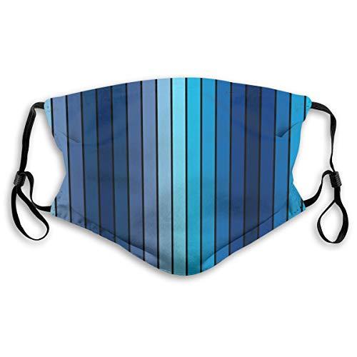 Baoziya Plaques In Blue Tones with Border Lines with Sketchy Details Print Image Mode Staubdichte Dekorative Gesichtsmaske Black Bequem Und Atmungsaktiv