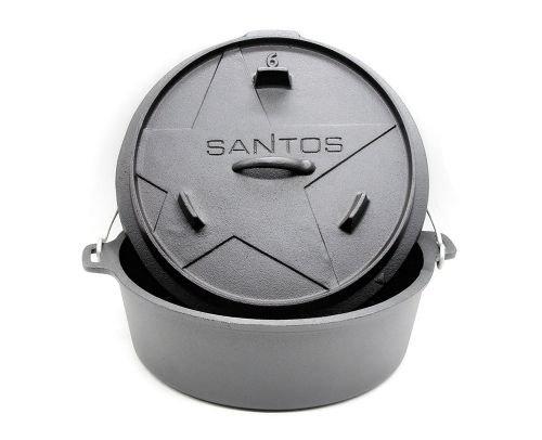 SANTOS Dutch Oven, Schmortopf für Außenküche, 6 Qt ohne Füße, Gusseisen
