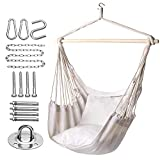 Y- STOP Hammock Chair Hanging Rope Swing, Max 320 Lbs, 2 Seat Cushions Included, Hanging Chair with Pocket, Quality Cotton Weave, for Indoor and Outdoor, Beige