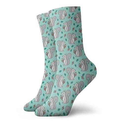 Elsaone Eichhörnchen mit Blättern Eichel Herbst Herbst auf Minzgrüne Socken Männer Frauen Sportliche Socken Atmungsaktive Tab Socke Atmungsaktiv 30 cm