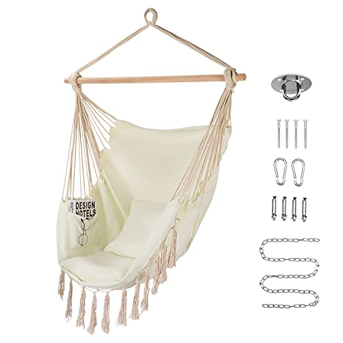 HOMCHWELL Hammock Chair Hanging Rope Swing with Hanging Hardware Kit,Include Carry Bag & Two Seat Cushions, for Patio Bedroom or Tree,Max. Weight 330 Lbs (Beige)