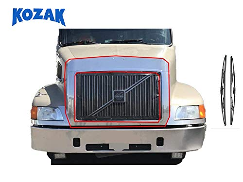 Volvo VN VNL truck Chrome Bug Deflector for 1996-2003 Volvo vnl chrome bug deflector for volvo semi truck parts accessories truck bug deflector + Wipers