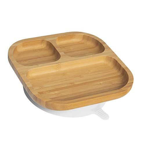Tiny Dining Bambini Bamboo aspirazione Plate - Pranzo Tavola con restare aspirazione - segmentato - Eco-Friendly - Bianco