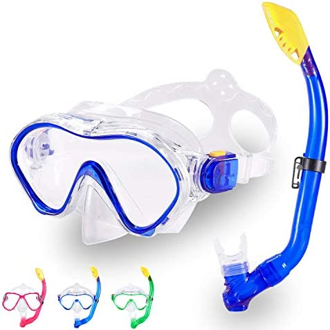 Kids Snorkel Set Dry Top Snorkel Mask with Carrying Bag Kids Youth Junior Snorkeling Gear for product image