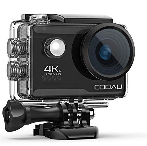 COOAU Action Cam HD 4K 16MP WiFi Con Microfono Esterno Fotocamera Sott'acqua 40M con Telecomando EIS Stabilizzazione Videocamera Impermeabile 170° Grandangolare Time Lapse/2 Batterie 1200mAh/Accessori