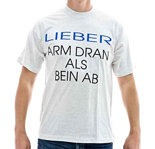 T-Shirt Lieber ARM DRAN ALS Bein AB Baumwolle grau meliert Siebdruck lieferbar in den Größen L und XL original 1990er Jahre Funshirt (L)