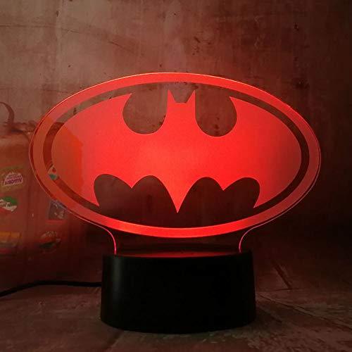Halloween Justice League 3D Led Batman Symbol Light Night Desk Table Lamp 7 Color Change Usb Rgb Controler Toy Kids Gift
