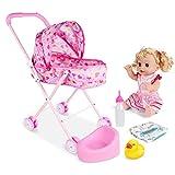 Impresión de dibujos animados conjunto 4pcs / set de la muñeca cochecito plegable del cochecito de niño de la muñeca Regalo Con Diseño cochecito de bebé con el regalo para muñecas (corazón Car)