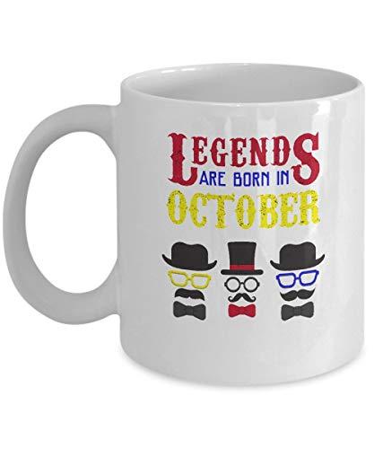 Zodiac Sign koffiemok - Legends zijn geboren in oktober - Weegschaal geschenken voor mannen - 11 oz keramische beker