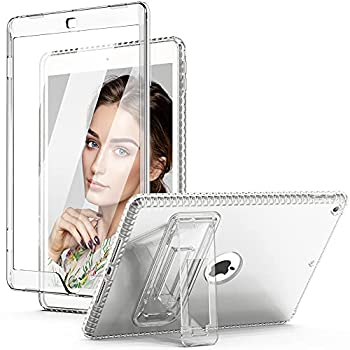 TIANLI Case for iPad 8th Generation 7th Gen Cover iPad 10.2 2020/2019 Built-in Screen Protector Full-Body Dual Layer Shockproof TPU Bumper Protective Case with Kickstand for iPad 10.2 Inch Clear