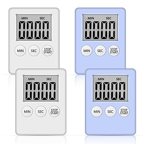 Temporizador de Cocina Digital 4 piezas Temporizador Magnético Temporizador de Cocina, Cuenta Atrás, Cronómetro, Con gran Pantalla LCD para Cocinar, Hacer fitness, Aprender
