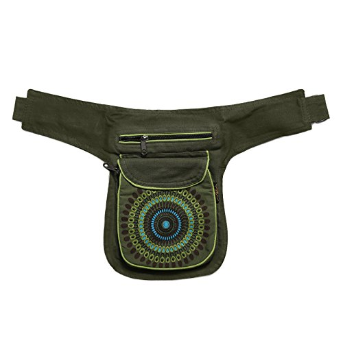 KUNST UND MAGIE Bauchtasche Mandala-Print Gürteltasche Festivaltasche, Farbe:Army Green