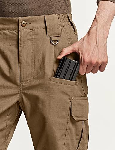 CQR Men's Tactical Pants, Water Repellent Ripstop Cargo Pants, Lightweight EDC Hiking Work Pants, Outdoor Apparel, Duratex Ripstop Coyote, 32W x 32L