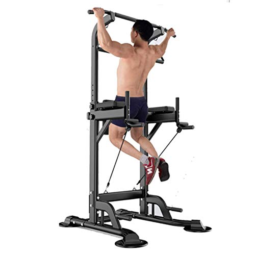 YI'HUI Fitness Multifunzione Power Tower/Multi Station per Home Office Palestra Dip Stand Pull Up Push Up,Nero