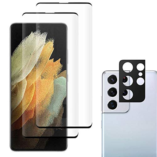 JZ Galaxy S21 Ultra [3+1 Pack] Curved Tempered Glass Screen Protector Film for per Samsung S21 Ultra with [Camera Protector Film][Full Screen Protection][Fingerprint Unlocking][Anti Scratch]