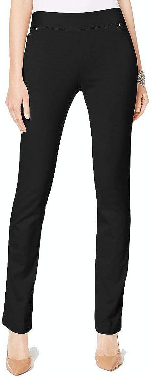 I-N-C Womens Curvy Straight Leg Casual Trousers deepblack 14x32