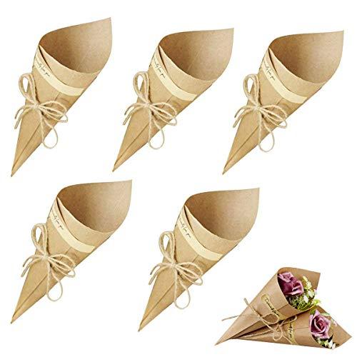 Gudotra 100pz Coni Portariso Kraft Carta + 100 Corda + 100 Adesivi Pacchetti per Caramella Confetti Riso Scatole Portaconfetti Matrimonio