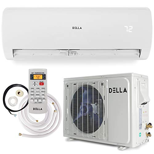 Della 12000 BTU Mini Split Air Conditioner Ductless Inverter System 17 SEER 208-230V with 1 Ton Heat Pump, Pre-Charged Condenser and Full Installation Accessories Kit AHRI