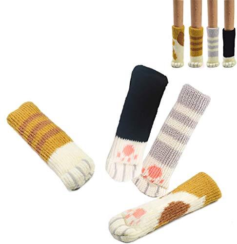UrsoKuz 16 Calcetines(4 Juegos) de Sillas, con Diseño Patas de Gato, Protectores Fiables para Pisos, Patas de Sillas, Sillones, Mesas - 4 Colores Diferentes. Pack de 16 Unidades