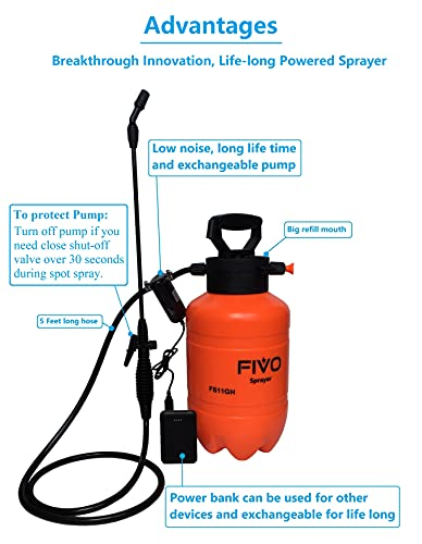 FIVO Battery Powered Sprayer and Pressure Sprayer Dual Functions for Lawn and Garden with Rechargeable Lithium Ion Power Bank and Shoulder Strap (1.3 Gallon)