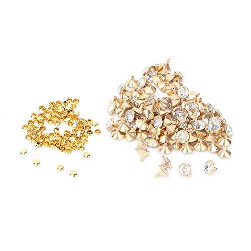 100 Juegos de Remaches Rápidos con Incrustaciones de Cristal con Doble Tapa Puntos de Color Dorado Plateado Tachuelas para Bricolaje Bolsa de Ropa de Cuero Zapatos Decoración