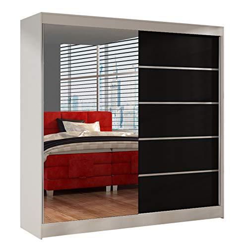 Schwebetürenschrank Basti III 200 cm mit Spiegel - Kleiderschrank, Schiebetürenschrank mit Kleiderstange und Einlegeboden, Schlafzimmerschrank, Schiebetüren, 200x215x58 cm (Weiß/Schwarz)