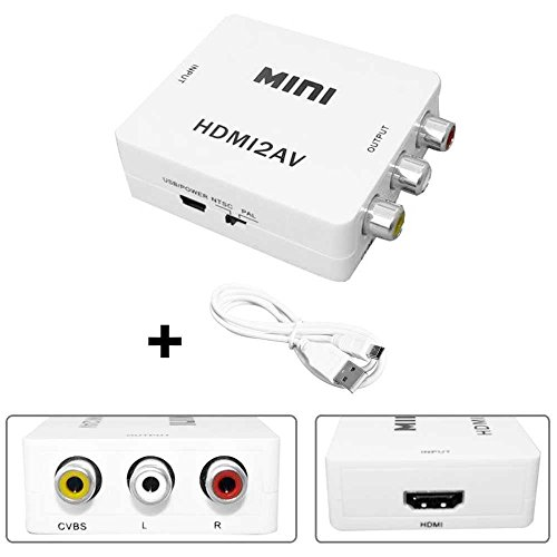 OcioDual Convertidor de Señal HDMI Digital a AV RCA Analógica Transformador Adaptador Conversor Audio Video con Escalador