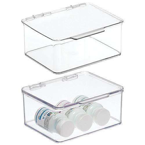 mDesign 2er-Set Badezimmer Box mit Deckel – praktische Kunststoff Box für Pflegeprodukte, Medikamente und Handtücher – stapelbare Aufbewahrungskiste – durchsichtig
