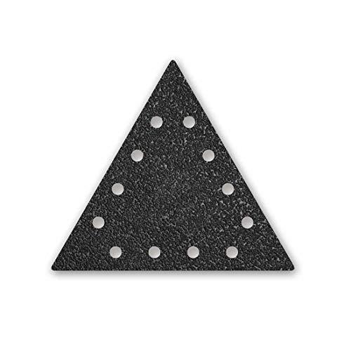 MENZER Black Discos Abrasivos Triangulares con Velcro, 290 x 250 mm, 12 Agujeros, Grano 16, para Lijadoras de Pared, Carburo de Silicio (10 Piezas)