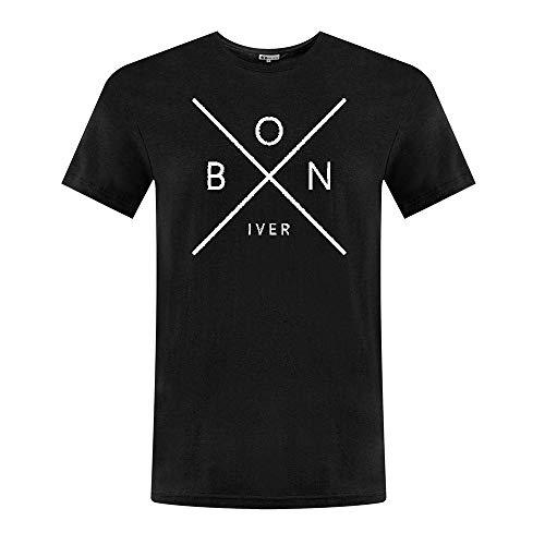 CHENYINJJ Herren Bon Iver Logo Round Collar T-Shirt X-Large