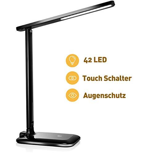 TOPELEK Schreibtischlampe 42 LED Tischlampe, 3 Farb-und 3 Helligkeitsstufen, Tischleuchte mit Touch Control-Taste, Farbtemperatur Speicherfunktion für Büro, Lesen, Studieren (Schwarz)