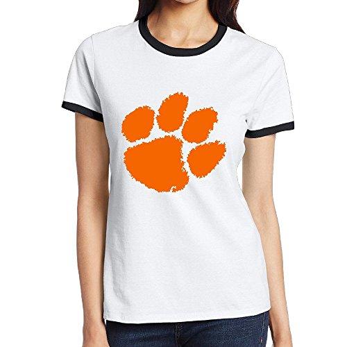 Custom de la mujer Classic bicolor T Shirt Clemson Universidad Tiger Paw Logo negro