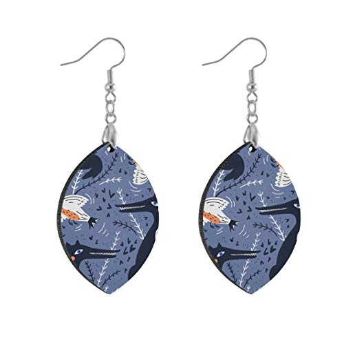 Leaf Earring Foxes Bird Purple Fashion Earrings Women Girls for Valentine's Day Double Layered Lightweight