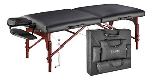 Master Massage Montclair Therma Top Portable Massage Table Package with Memory Foam and Reiki Access-Black
