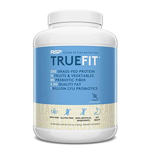 RSP TrueFit- Protein Powder Meal Replacement Shake for Weight Loss, Grass Fed Whey, Organic Real Food, Probiotics, MCT Oil, Non-GMO, Gluten Free, No Artificial Sweeteners, 4 LB Vanilla