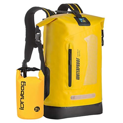 IDRYBAG Dry Bag Wasserdichter Dry Sack Trockener Rucksack Leichter Wassersport Rolltop hält Ausrüstung trocken 20 l für Bootfahren, Schwimmen, Wandern, Reisen, Strand, Kajak, Dry Bag gelb, dry bag 20L
