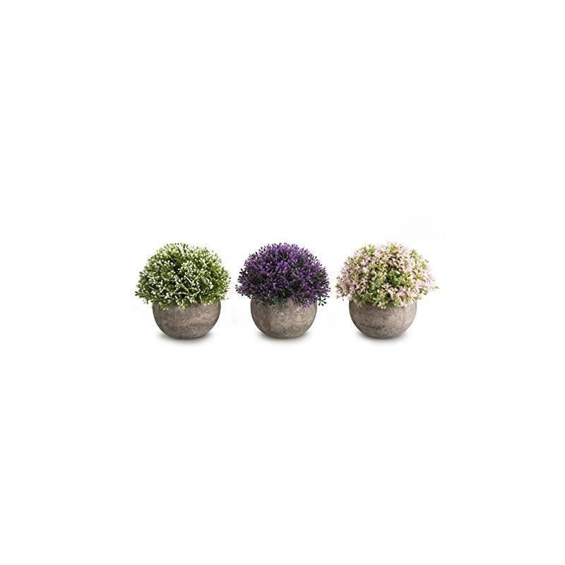 silk flower arrangements opps mini artificial plants plastic fake green colorful flower topiary shrubs with gray pot for home décor – set of 3