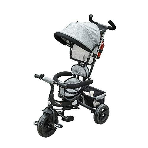 HOMCOM Triciclo para Bebé 4 en 1 Bicicleta para +18 Meses con Capota Manija de Empuje Ajustable Barra Extraíble Reposapiés Plegable Canasta de Almacenaje 92x51x110 cm Gris