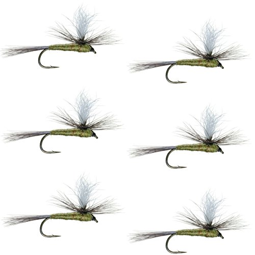 The Fly Fishing Place Parachute Blue Winged Olive BWO Classic Trout Dry Fly Fishing Flies - Set of 6 Flies Size 16