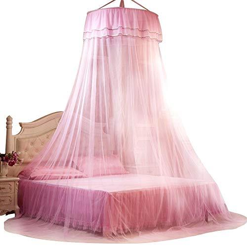 fasient Moskitonetz Bett Baldachin Faltbare 360 Grad Runde Baldachin Atmungsaktive Mesh Princess Lace Style Bett Moskitonetz für Damen Schlafzimmer Dekoration(Pink)