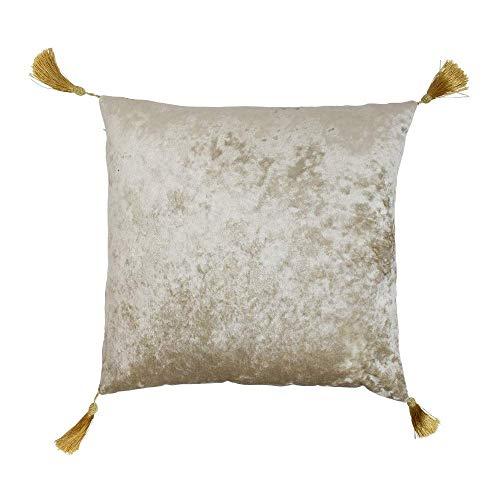 Mars & More Prachtig kussen fluweel goud met franjes sierkussen deco-kussen met vulling uitneembare afmetingen: 45x45cm