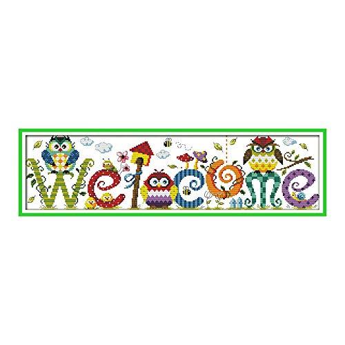 Decdeal Sticken Set Eulen Muster Welcome Modellierung DIY Handarbeit Kreuzstich Kein Verblassen Baumwollfaden +14CT Canvas +Nadel Wohnzimmer Dekorative Malerei Willkommens Malerei (58cm x 17cm)