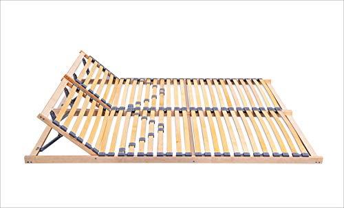 ECOFORM Lattenrost mit Integrierter KOPFTEILVERSTELLUNG und Härtegradregulierung 120/140/160/180/200x200cm, Federholzrahmen Bettrahmen, Kopfteil Verstellbar - vom Hersteller (160 x 200 cm)