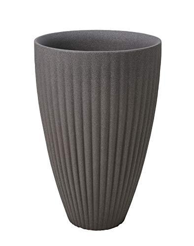 Design Pflanzkübel hoch mit dekorativen Längsrillen - 60x40 cm - XXL Kunststoff Blumenkübel Pflanztopf rund