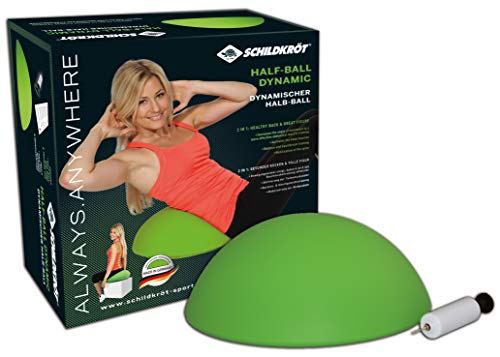 Schildkröt Fitness Unisex Half Ball Dynamic Balancetrainer inkl Handpumpe bungsposter 960038, grün, 40 cm EU