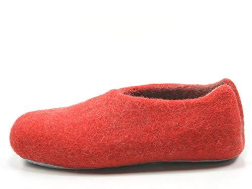 Rohde 7980 Nepal Damen Hausschuhe Pantoffeln Slipper Filz, Größe:38 EU, Farbe:Rot