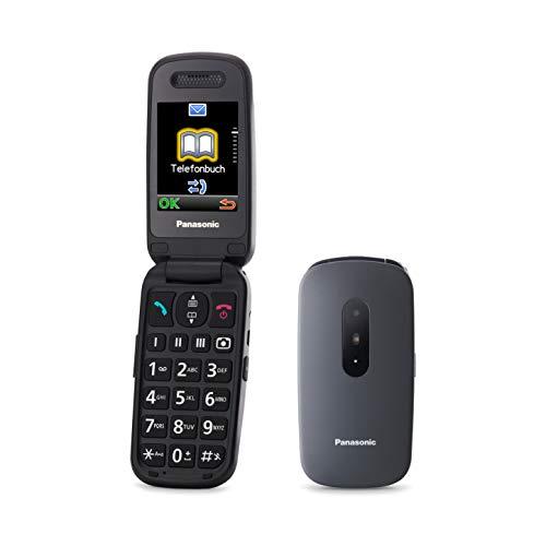 Panasonic KX-TU446EXB Teléfono Móvil Para Personas Mayores (Resistente a Golpes, Cámara, Incluye Auriculares y Cargador, Indicador LED)- Gris
