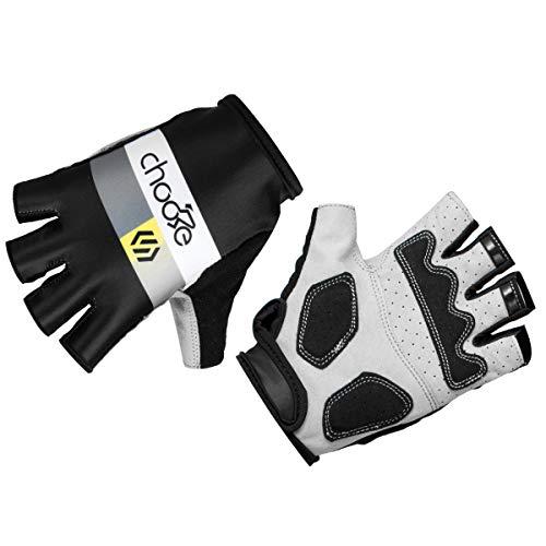 EASTERN POWER Sommer-Fahrradhandschuhe für Damen und Herren, Halbfinger-Handschuhe für MTB, Fahrrad, Mountainbike, Größe L, schwarz mit gelben Motiven