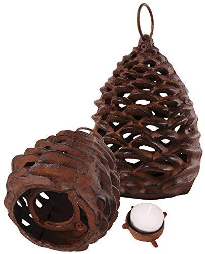 Esschert Design Lanterne Lanterne de Jardin Motif Pommes de pin, avec Anneau à Suspendre Différentes Tailles, Fonte, 1 pièce, 13 cm