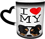 Tazza da caffè con scritta 'I Love My Black Aussie Australian Shepherd Dog Magic Heat Sensitive cambia colore Mug in The Sky Coffee Mugs regalo personalizzato per gli amanti della famiglia amici